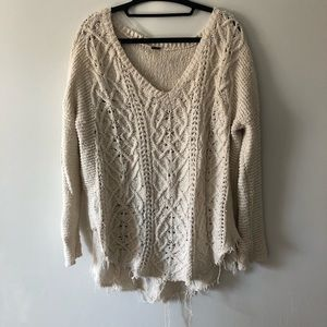 Free people off white sweater large